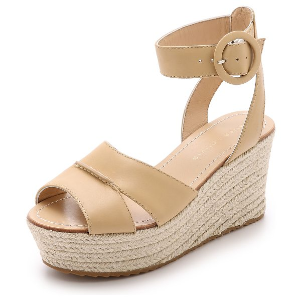 Alice + Olivia Roberta espadrille wedges in nude - A raised seam joins the wide straps on these alice +...