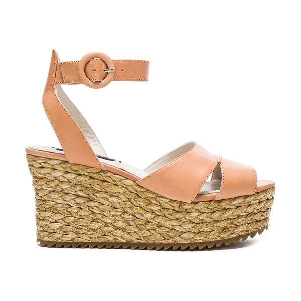 Alice + Olivia Roberta Sandal in peach - Leather upper with rubber sole. Ankle strap with buckle...