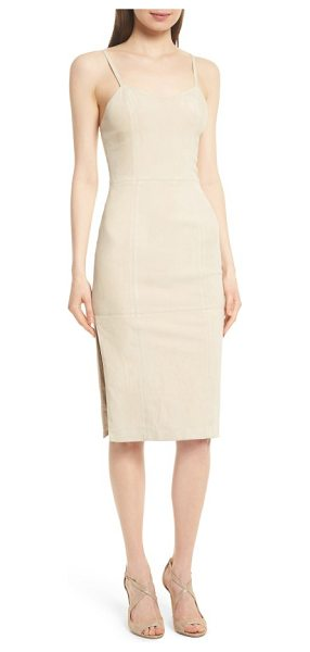 Alice + Olivia rochell suede sheath dress in champagne - Exquisitely soft suede brings a luxe look and and feel...