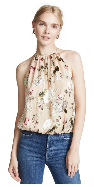 Alice + Olivia rosa halter top in hazy floral/sand - Fabric: Flocked georgette Floral print Waist-length...