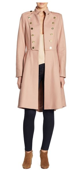 Alice + Olivia rossi mid-length military coat in rose tan - Wool-blend military coat with embellishment. Stand...