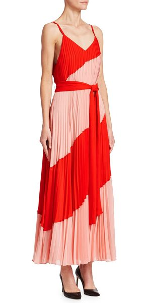 Alice + Olivia rozlyn colorblock maxi dress in perfect poppy blossom - Colorblock maxi dress detailed with allover...