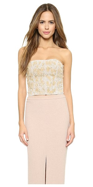 Alice + Olivia Sabel embellished bustier top in nude/pearl - Frayed gauze accents the intricate beading on this...