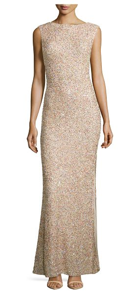 Alice + Olivia Sachi sleeveless embellished gown in nude multi -  Alice + Olivia evening gown with allover multicolored...