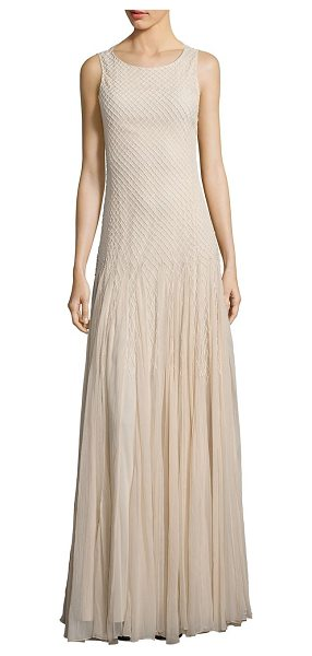 Alice + Olivia saori embellished godet gown in champagne - Enchanting godet gown with lattice-inspired beading....