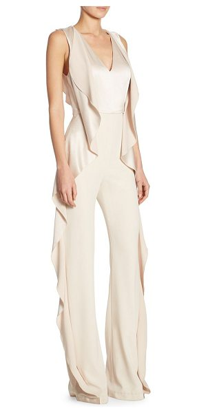 Alice + Olivia sarandon side ruffle jumpsuit in champagne