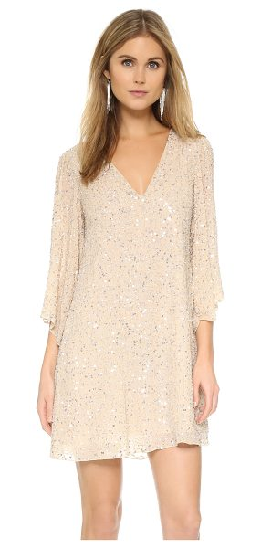 Alice + Olivia Shary embellished dress in champagne/silver - Serpentine ribbons of clear beads and metallic sequins...