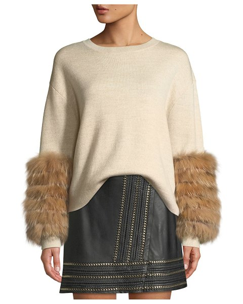 "Alice + Olivia Shiela Pullover with Fur Cuffs in beige - Alice + Olivia ""Shiela"" sweater with dyed fox (China)..."