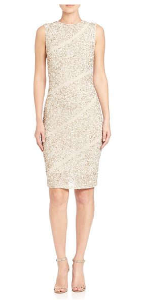 Alice + Olivia sitara embellished dress in cream-silver - Sequined dress with asymmetrical stripes. Roundneck....