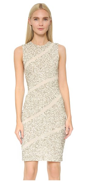Alice + Olivia Sitara embellished dress in cream/silver - A fitted alice + olivia dress rendered in double layered...