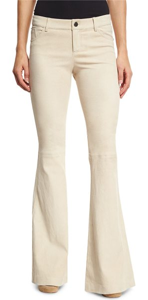 Alice + Olivia Suede Bell-Bottom Five-Pocket Pants in champagne - Alice + Olivia jean-style bell-bottom pants in lamb...