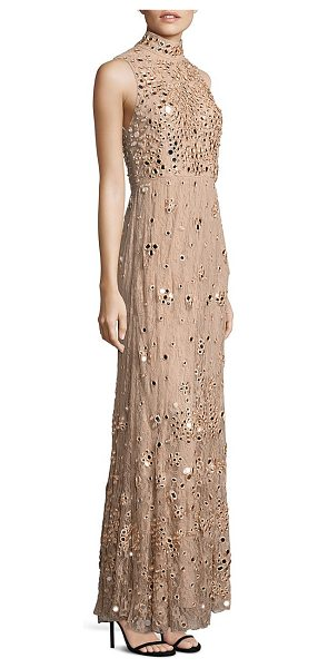 Alice + Olivia susanne embellished lace gown in nude pink - Mirror-like embellishment gleams from lace gown....