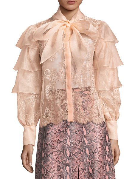 ALICE + OLIVIA talulah lace ruffle blouse in blush - Lace blouse with structured ruffles. Stand collar with...