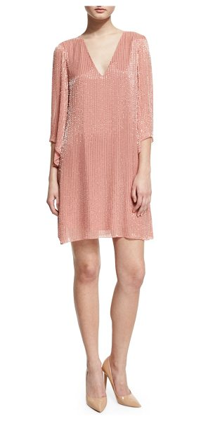 "Alice + Olivia Tammin 3/4-Sleeve Embellished V-Neck Caftan in pink - Alice + Olivia ""Tammin"" chiffon mini dress with striped..."