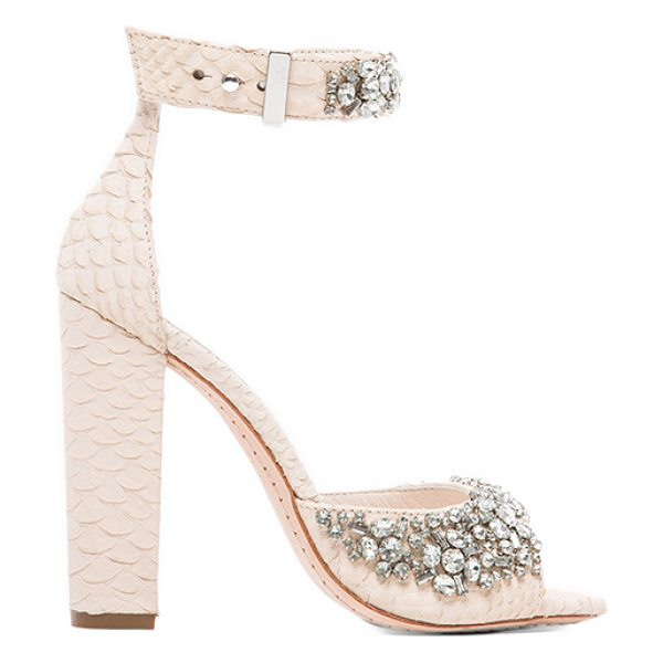Alice + Olivia Vanessa heel in cream - Snake embossed leather upper with man made sole. Heel...