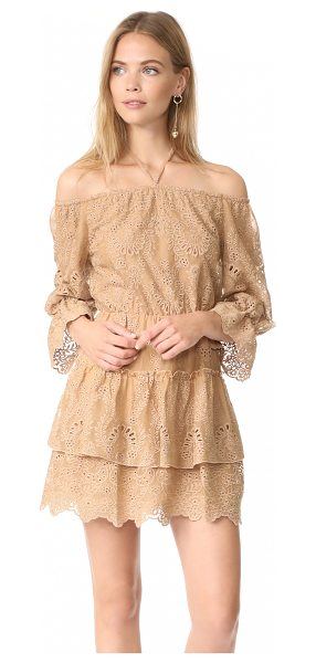 Alice + Olivia waylon dress in tan - This breezy alice + olivia off-shoulder dress is...