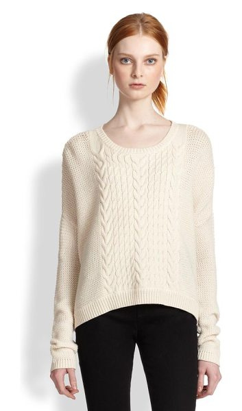 Alice + Olivia Wool cable-knit pullover in cream - A slouchy-chic boyfriend classic, defined by timeless...