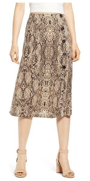 ALL IN FAVOR animal print button midi skirt in beige
