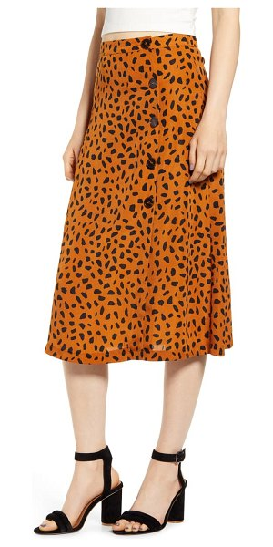ALL IN FAVOR animal print button midi skirt in brown