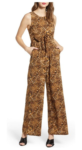 ALL IN FAVOR tie waist wide leg jumpsuit in brown - An attached sash ties to the front or back on this gauzy...