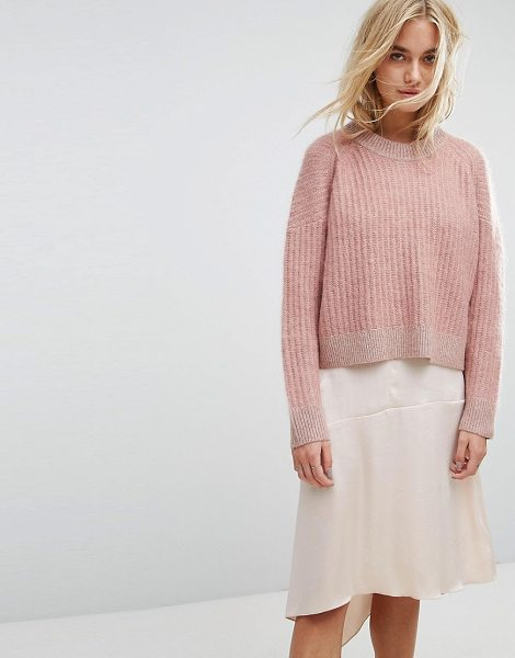 Allsaints Ade Cropped Fluffy Sweater in pink - Sweater by AllSaints, Premium cashmere-mix, Ribbed...