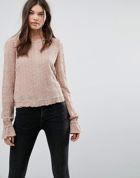 """Allsaints Dakota Long Sleeved Top in pink - """"""""Top by AllSaints, Smooth woven fabric, Round neck,..."""