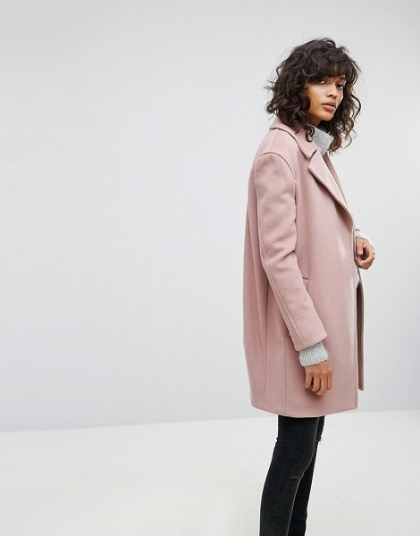 ALLSAINTS Remi Oversized Coat - Coat by AllSaints, Woven fabric, Textured finish, Notch...