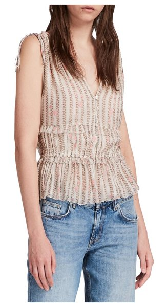 Allsaints annie nomy top in pearl grey - Pink roses tumble down spotty stripes, deepening the...