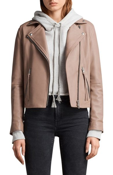 ALLSAINTS dalby leather biker jacket - A smooth leather biker jacket is classically cool with a...