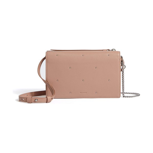 Allsaints Kathi Chain Wallet Crossbody Bag in light pink - AllSaints smooth leather wallet crossbody bag with tiny...