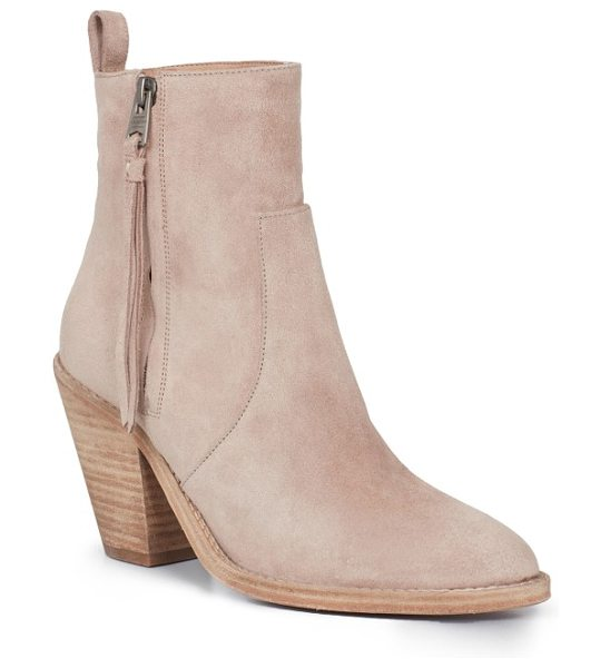 Allsaints lorna bootie in sepia pink - A tapered block heel provides trend-savvy lift to an...