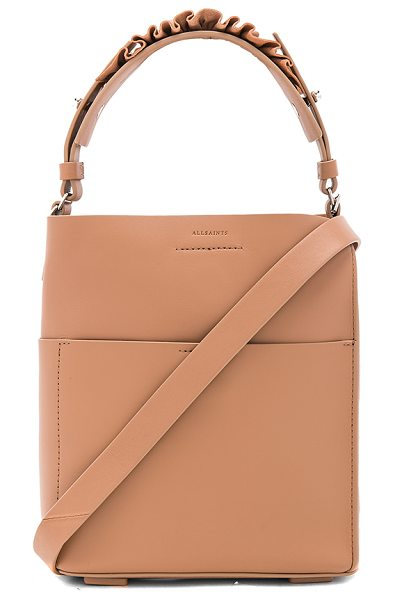 Allsaints Maya Mini Tote in light caramel - Leather exterior with raw leather lining. Magnetic top...