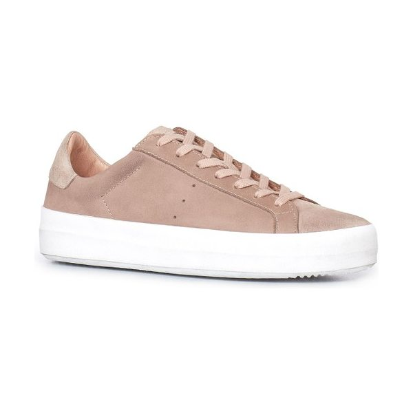 Allsaints safia sneaker in sepia pink - A bold rubber sole grounds a low-top sneaker made from...
