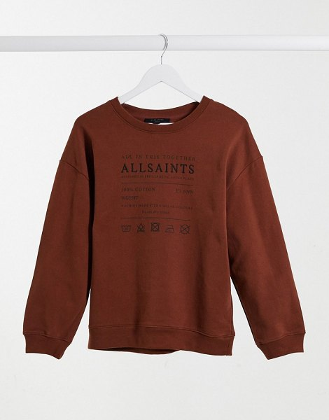 Allsaints veda relaxed sweatshirt with logo in brown in brown