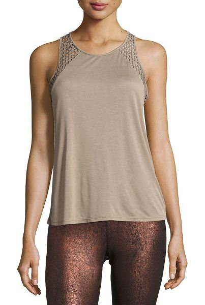 "Alo Yoga Cage Open-Back Performance Tank Top in sand - Alo Yoga ""Cage"" athletic tank in ultra-light jersey with..."