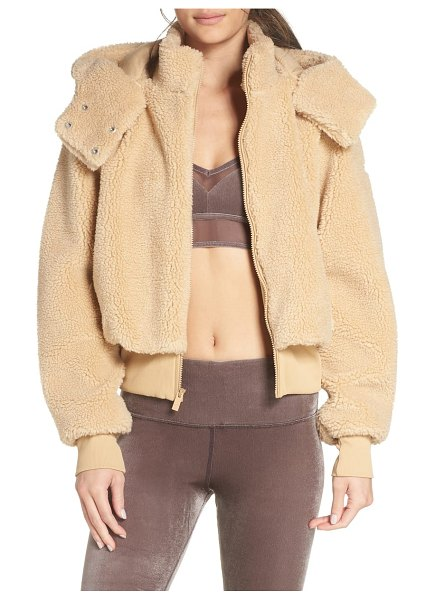 Alo Yoga foxy faux fur jacket in camel - Plush and cozy in faux-fur, this jacket with detachable...