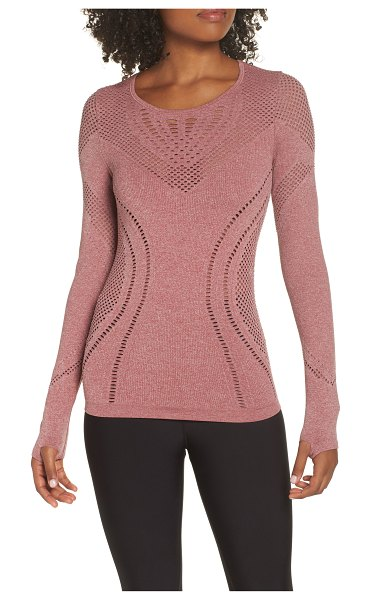 Alo Yoga lark mesh inset long sleeve yoga top in rosewood heather