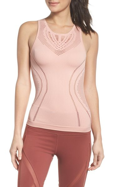 ALO YOGA lark tank in powder pink - Strategic perforations add breathability and style to a...