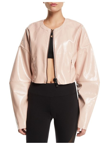 Alo Yoga Liquid Cropped Shiny Zip-Front Jacket in pink