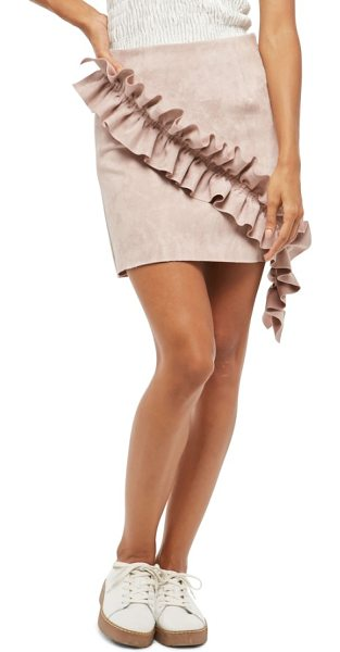 ALPHA AND OMEGA alpha & omeda faux suede ruffle skirt in mauve - With its extended ruffle and buttery-soft faux suede,...
