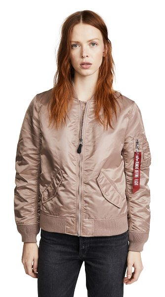 Alpha Industries laced bomber jacket in mauve - Fabric: Technical weave Decorative laces Full-zip style...