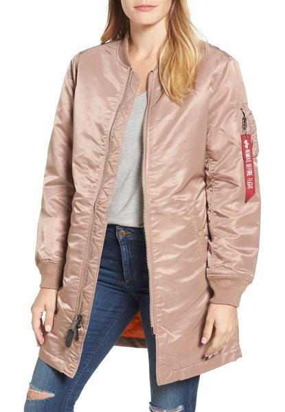 "Alpha Industries water resistant long ma-1 jacket in mauve - A brand-signature ""Remove Before Flight"" tag puts a..."