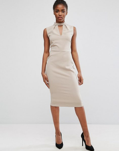 "Alter Chocker Neck Pencil Dress in beige - """"Dress by Alter, Smooth woven fabric, Choker neck,..."