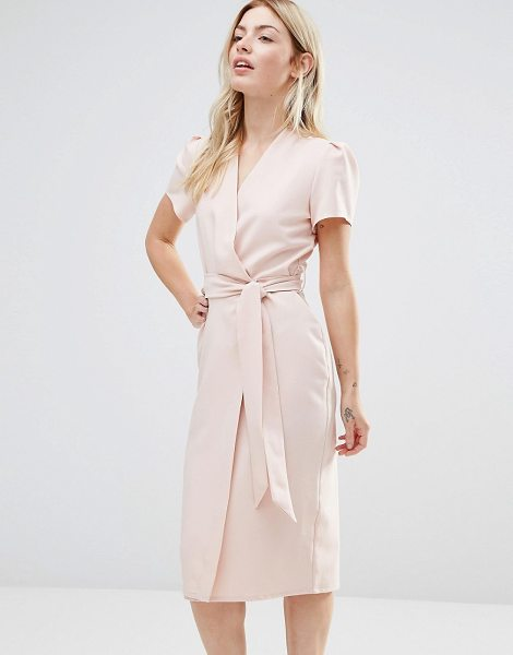 "Alter Wrap Tea Midi Dress in pink - """"Midi dress by Alter, Woven fabric, V-neckline, Wrap..."
