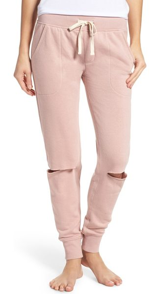 Alternative slashed lounge jogger pants in rose quartz - Get that sporty-chic look in these supersoft joggers...