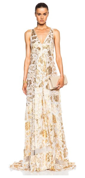 Altuzarra Bassano floral fil coupe gown in metallics,floral - 90% silk 8% poly 2% nylon.  Made in Italy.  Unlined. ...