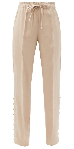Altuzarra catkin buttoned linen-blend straight-leg trousers in beige