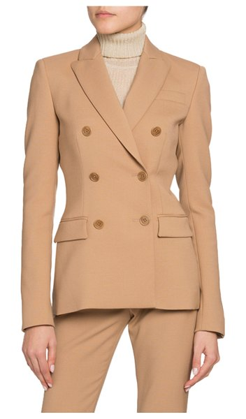 Altuzarra Double-Breasted Stretch Wool Blazer in beige