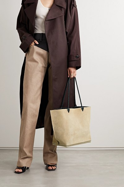 Altuzarra espadrille large leather and jute-trimmed suede tote in beige