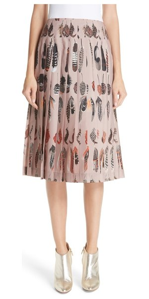 Altuzarra feather print pleated skirt in brown - A graphic feather print reflects the lightness and...